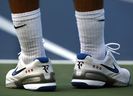 Swiss player Roger Federer's shoes